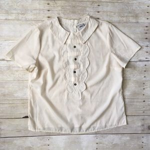 ASOS Cream Vintage Ruffle Front Collared Top Blous